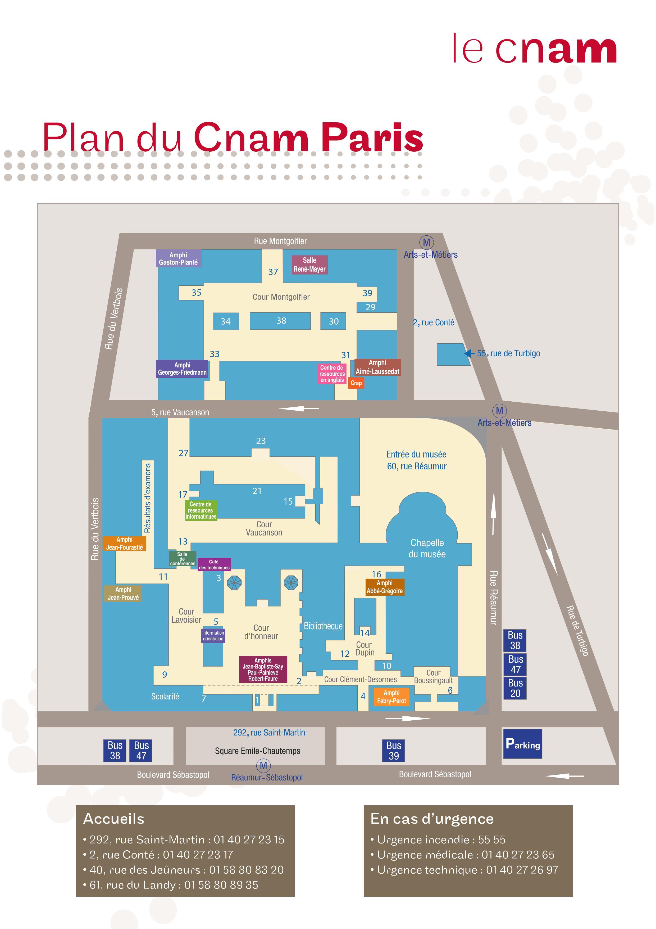 Plan du Cnam
